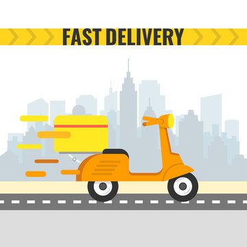 Delivery scooter with big box. Motorcycle fast delivery. Vector illustration.
