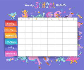 Template school timetable for students or pupils with days of week and free spaces for notes. Illustration includes many hand drawn elements of dino hand drawn characters with color volume stickers