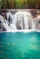 Poster de jardin Cascades Beautiful waterfall Huai Mae Khamin, Thailand