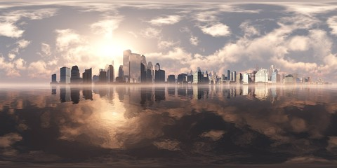 Wall Mural - City on the sea. A modern city above the water. Environment map. HDRI . equidistant projection. Spherical panorama. landscape.
