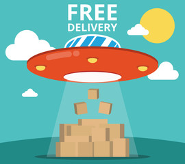 Concept of the delivery service. Flat vector illustration UFO and boxes.