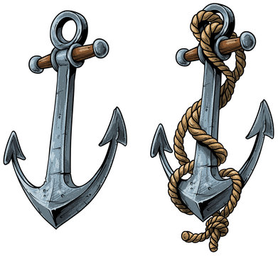 Cartoon colorful metal ship anchor with rope. Isolated on white background. Vector icon set.