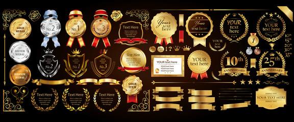 Set of golden medal, label, wreath, laurel wreath and award frame set