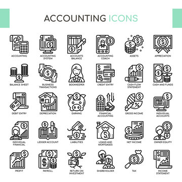 Accounting , Thin Line and Pixel Perfect Icons