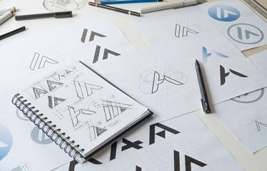 Graphic designer creative design sketch drawing logo Trademark brand Workspace