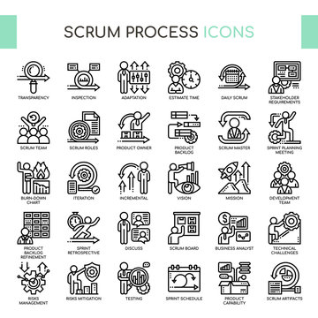 Scrum Process , Thin Line and Pixel Perfect Icons