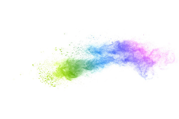 Freeze motion of colorful color powder exploding on white background.  Paint Holi. Wall mural