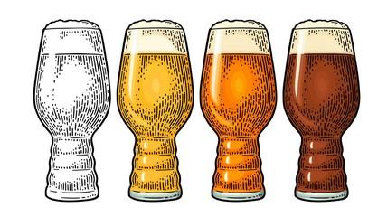 Obraz Beer Classics IPA Glas. Vintage color vector engraving illustration. - fototapety do salonu