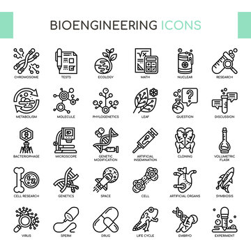 Bioengineering , Thin Line and Pixel Perfect Icons