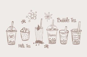 Tapioсa milk bubble tea drink set sketch