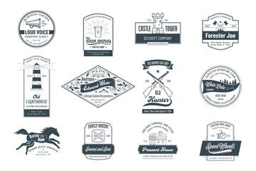 Fototapete - Set of vintage template logos 03