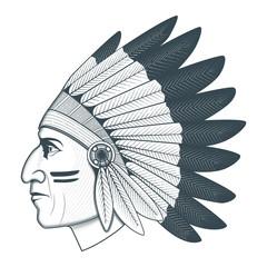 American native chief head illustration