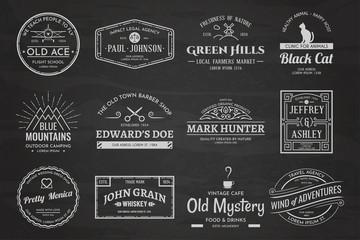 Fototapete - Set of vintage template chalk logos 01