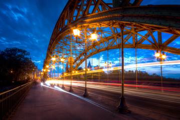 Zwierzyniecki Bridge at dusk. Wroclaw, Poland.