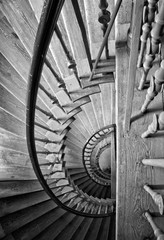 Old antique staircase in black and white.