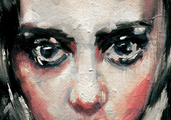 Modern art painting of a beautiful young lady with big blue eyes and black hair, sad face mood