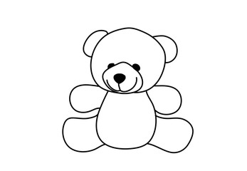 Teddy bear linear icon. Thin line illustration. Contour symbol. Vector isolated outline drawing