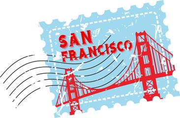 San Fransisco Bridge Stamp Grunge