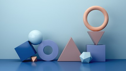 Realistic primitives composition. Set of shapes  on blue wall background. Abstract theme for trendy designs. Geometric sphere, torus, polyhedron, cylinder in purple, blue and cream colors. 3d render.