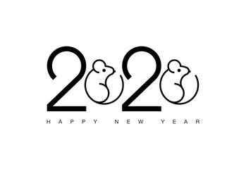 Happy New Year 2020 rat logo text design.
