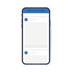 Social media design concept. Smartphone with interface carousel post on social network. Modern flat style vector illustration