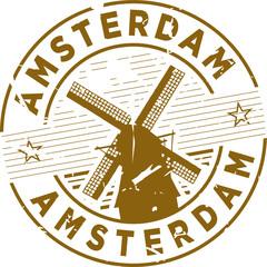 Amsterdam Windmill Rubber Stamp
