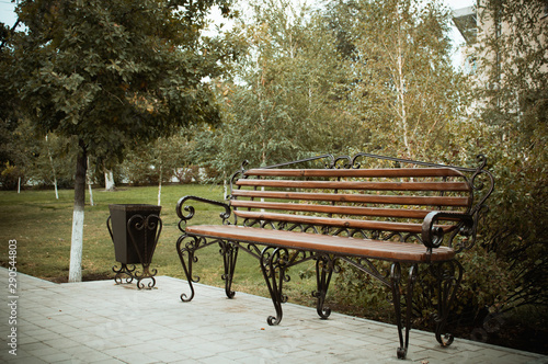 Remarkable Wooden Bench With Metal Art Forging In The Amusement Park Pabps2019 Chair Design Images Pabps2019Com