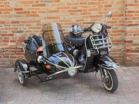 vintage scooter Vespa with sidecar