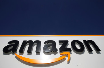 The logo of Amazon is seen at the company logistics centre in Boves