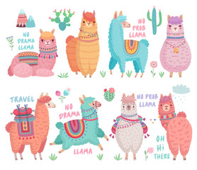 Wall Mural - Cute Llamas with funny quotes. Funny hand drawn characters.
