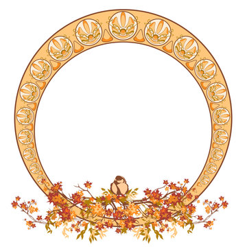 elegant circle art nouveau style design with autumn maple branches and bird - fall season round decorative frame vector