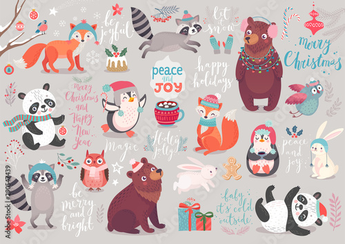 Canvas Prints Christmas set, hand drawn style - calligraphy, animals and other elements.