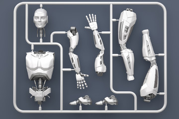 Model kit set with futuristic robot parts.