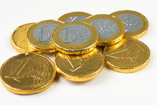close up of chocolate money, one and two euro, Sinterklaas