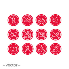 prohibited icon set, forbidden signs such as not smoking, no making noise, not taking pictures, not warming up, and more, bans thin line symbols isolated on white background - editable stroke vector