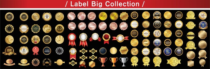 Award ribbon vector design. Collection of premium, quality tag labels. Star burst shaped badge with retro vintage styled design. Vector.