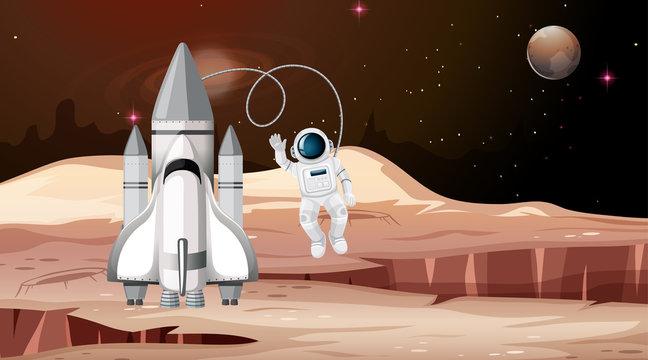 Rocket and astronaut mars scene