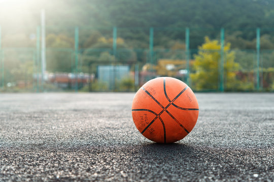 Basketball ball on the sports court closeup