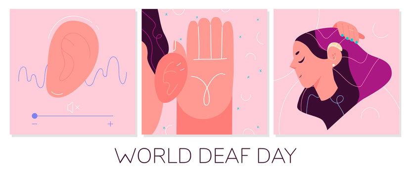 World Deaf Day in last Sunday of September concept. Health care vector illustration.