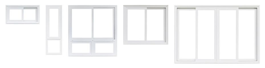 Real modern house window frame set collection isolated on white background