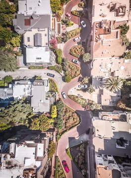 A high angle view looks down on San Francisco's Lombard Street.