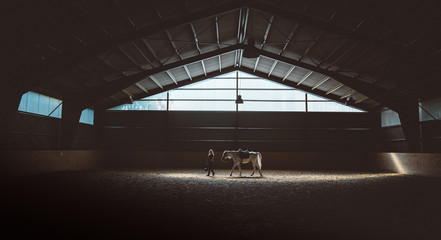 a woman is walking in front of her horse in the barn