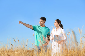 Agronomist with farmer in wheat field. Cereal grain crop Wall mural