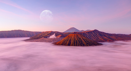 "Beautiful landscape with Mount Bromo volcano viewpoint in Bromo Tengger Semeru National Park at sunrise, Indonesia. ""Elements of this image furnished by NASA"