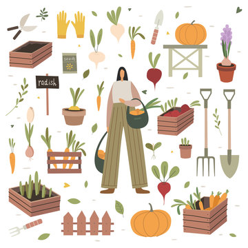 Girl holds bags of purchased vegetables at a farmers market. The theme of vegetarianism and healthy eating. Set of items on the agricultural theme: boxes and pots with plants, shoes and garden tools.