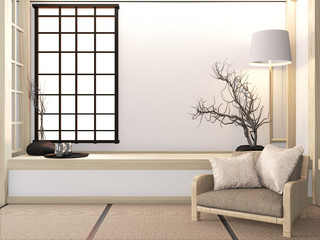 Sofa armchair mock up on room zen with tatami floor and decoration japanese style.3D rendering