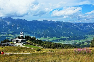 Austrian Alps-view of the cable car station on the Planai