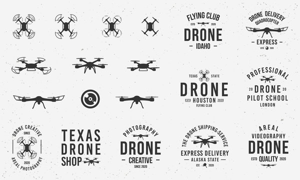 Collection of Drone logos, emblems, labels, badges. Set of 9 logo templates and 10 design elements for logo design. Drone business. Vector templates