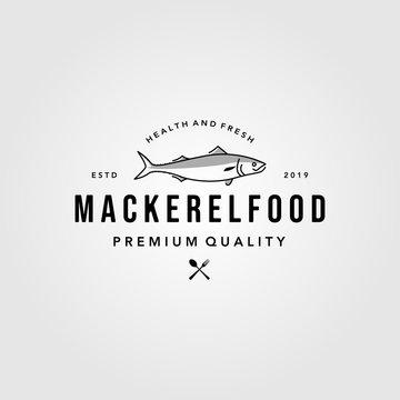 line art mackerel fish logo hipster vintage emblem vector seafood illustration