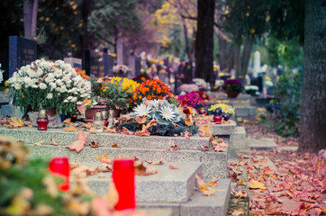 autumnal peaceful atmosphere in the cemetery